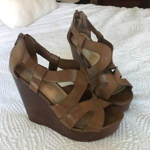 Brown Leather Aldo Wedges